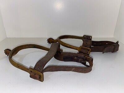 Pair BRASS Model 1906 U.S. CAVALRY SPURS with leather straps MARKED R.I.A.