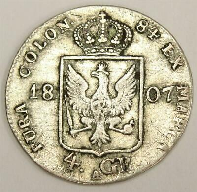 1807 A Prussia Germany 4 groschen silver coin
