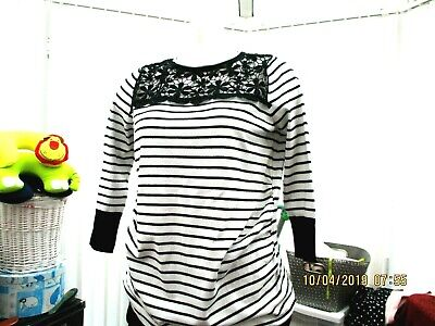"""red herring""  ladies black and white striped  maternity top/jumper size 14"