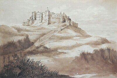 Antique Early 19th Century Sepia Painting Bamburgh Castle Northumberland Turrets