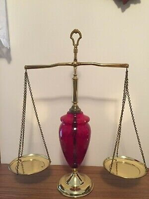 Vintage Collectible Medicine  Pharmacy  Scale; red glass