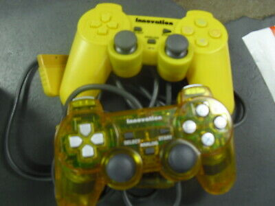 2 Yellow PlayStation2 Dual Shock Wired Controller Joy Game pad ps2 Joystick pack