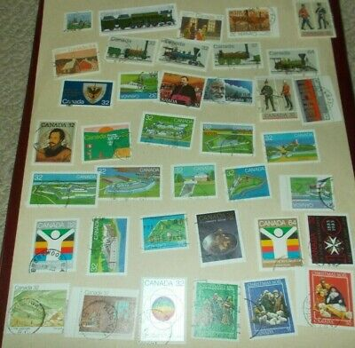 Canada 3 Pages Used Stamps 1980's 32 34 Cent All Different Stamp Collection Lot