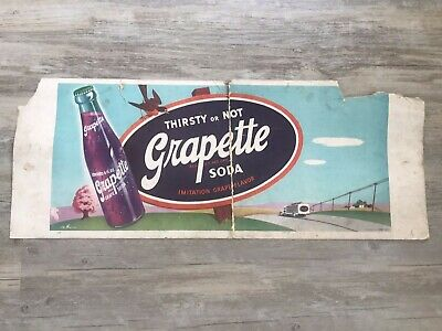 RARE REAL 1940's VINTAGE GRAPETTE GRAPE SODA POP ADVERTISING LITHO DISPLAY SIGN
