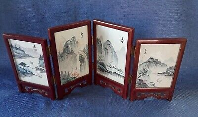 Chinese Wood Folding Silk Screen Room Divider Asian Two Sided Tabletop Decor