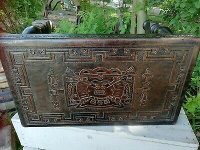 Vintage Peruvian Wooden Jointed Foot Stool Tooled Leather Inca God Viracocha