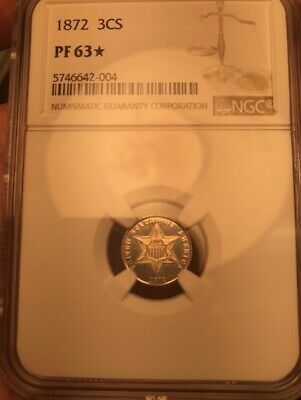 1872 NGC PR63 STAR Mintage of only 950 Proof Three Cents 3C Silver POP 1