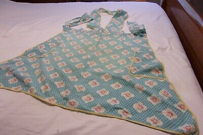 Vintage   Blue Floral Apron, wide straps  across chest and around neck