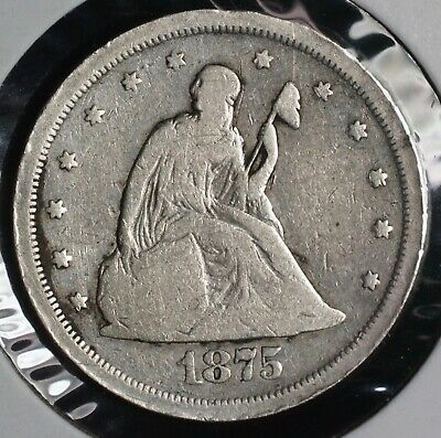 1875 S Seated Liberty Silver Twenty Cent 20C Coin | 1
