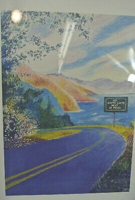 Jeff Leedy Print Shoreline Road Drive Wall Hanging Art Framed White Signed