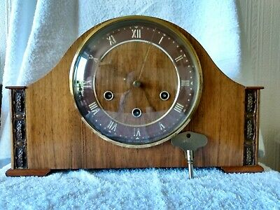 Vintage Smiths Westminster Chimes Mantle  Clock serviced and full working order