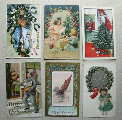 Lot of 6 Nice Old Christmas Postcards, 5 Are Embossed