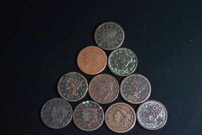 Lot of 10 Large Mixed Date One Cent 1C Coin
