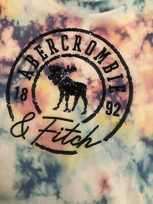 Abercrombie & Fitch Girls Sequin Logo TShirt Top Tie Dye Age 7-8
