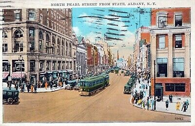 NY, North Pearl Street from State, Albany, New York Prelinen Postcard