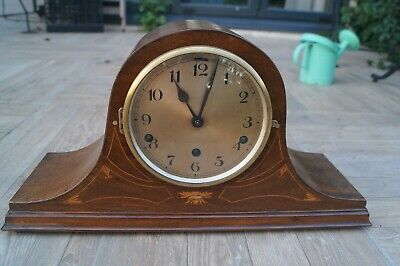 """Inlaid German """"Napoleon Hat""""  Westminster chime mantel clock. SEE VIDEO"""