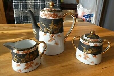 Beautiful Antique Black, White & Gold Oriental 3 Piece Coffee Set. Superb.