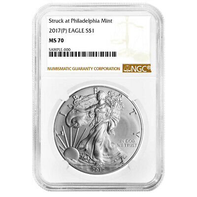 2017 (P) $1 American Silver Eagle NGC MS70 Brown Label