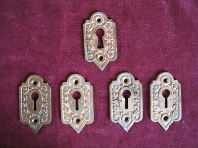 5 ANTIQUE KEYHOLE COVERS  Ornate 1860s Victorian, Cast Brass, Identical GREAT!