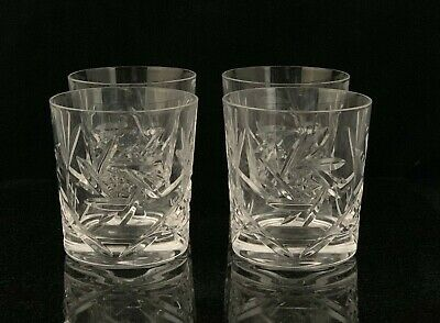 4 Cristal de Paris Crystal Whiskey Rocks Glasses Pinwheel Hobstar Fan Pattern
