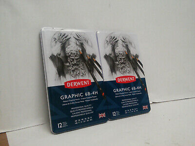 2x Derwent Graphic Pencils Medium 6B - 4H -12 Count- Metal Tin- New/Sealed (CA4)