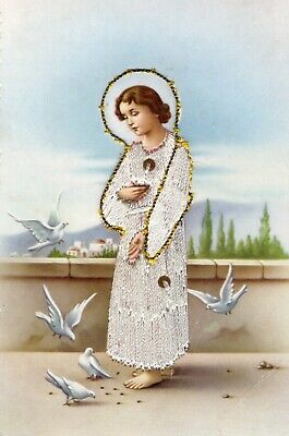 Vintage-rare Child Jesus Threaded Postcard Made in Spain
