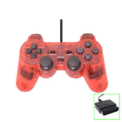 Wired Gaming Clear Red Rumble Controller for PS2 PS1