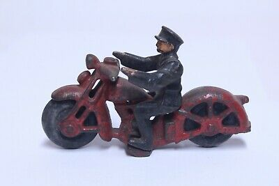 """Nice Antique Cast Iron 2 Part Hubley Motorcycle In Red W/ Police Cop 4 1/4"""""""