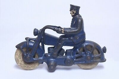 """Nice Antique Cast Iron Hubley Arcade Champion Cop Police Motorcycle In Blue 7"""""""