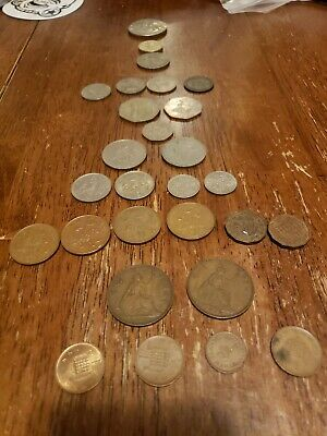 Lot Of English Coins Pence Shillings Pound Crown