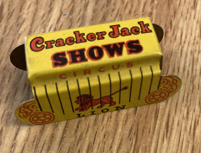 CRACKER JACK SHOWS LION CIRCUS WAGON TIN LITHO STAND-UP TOY 1930's PRIZE PREMIUM