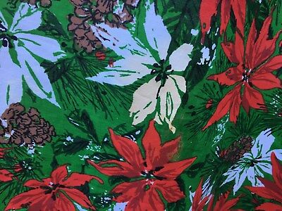 "Vintage Oval Christmas Tablecloth Poinsettias pine cones & Fringe 71"" x 54"""