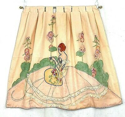 "Vintage Embroidered Cafe Curtain Woman Floral Lace Peach With Rod W 29"" X L 23"""
