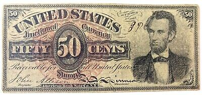 US Fractional Currency Lincoln 50 Cent Note 1863 Contemporary Counterfeit