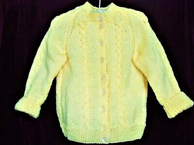 Granny Aggies Pale Yellow Cable-Knit knitted CARDIGAN - Size 1