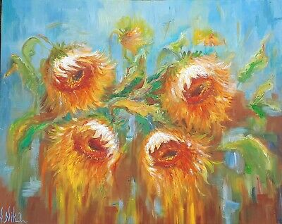 Original Abstract Oil Art Floral Sunflowers
