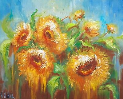 Original Abstract Oil Art Floral Sunflowers Blue Sky Yellow Flowers Of Sun