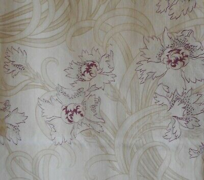Antique French Art Nouveau Floral Cotton Fabric~ Eggplant Lavender Olive Sage