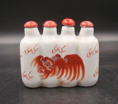Collectible 100% Handmade Painting Porcelain Snuff Bottles 4 Connected 002