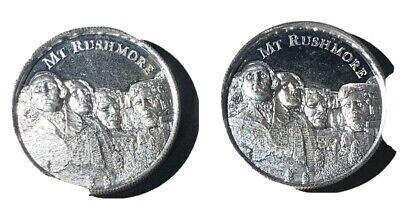 Mount Rushmore High Relief  2 OZ Silver Rounds     2 - Coins