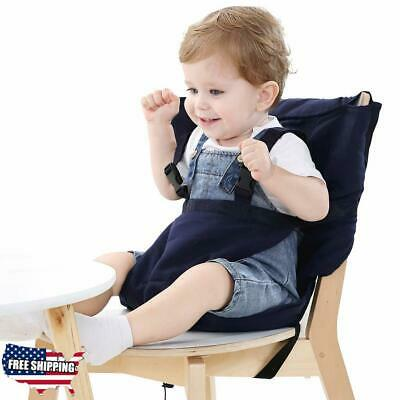 Easy Seat Portable High Chair Safety Washable Cloth Harness Travel High Blue