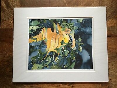 Fine Art Water Color Print Leafy Sea Dragon Matted 8x10 Giclee By Artist 🐉