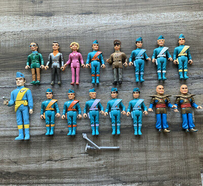 VTG Matchbox THUNDERBIRDS Tracy Island Playset Figures & More RARE Set Lot of 16