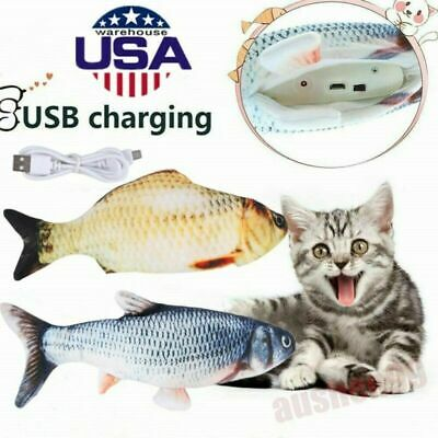 Realistic Plush Electric Moving Wagging Fish Toy For Cat Interactive Chew 2Color