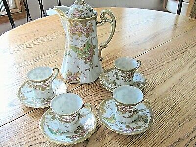Vintage Porcelain Chocolate Pot with Lid 4 Cups/Saucers    Butterflies/Dog Wood