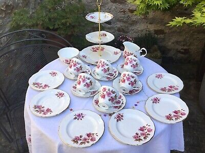 Vintage Mixed China Tea Set With Cake Stand.
