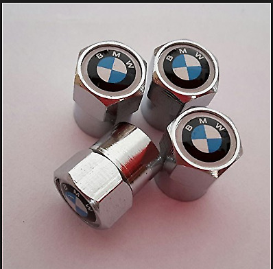 4 piece High Quality Alloy effect Chrome e Dust Caps With BMW Logo,