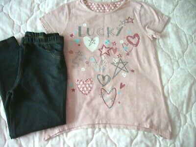 Nutmeg Pink T-Shirt Silver Det.11-12 Years & Primark Denim Colour Leggings 12-13