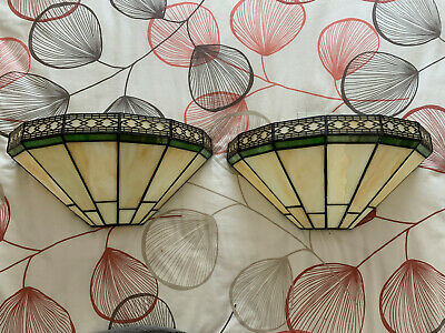 Pair of Tiffany Art Deco Wall Lights - 1920s / 1930s Style - Cream with Green