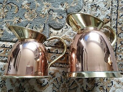 Antique Copper Jugs x2 One Is Trade Marked Linton
